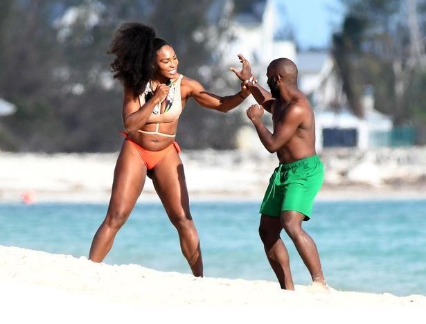 Serena Williams had a play fight on the beach with a male friend