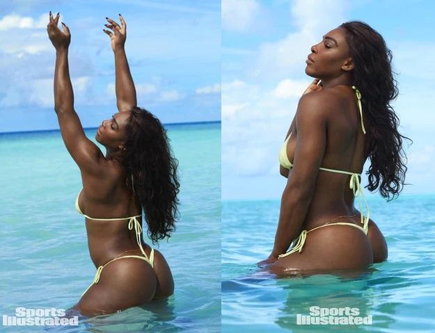Serena Williams wearing Yellow thong bikini