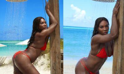 Serena Williams wearing Red thong bikini