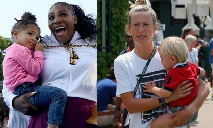 Victoria Azarenka and Serena Williams with their Children