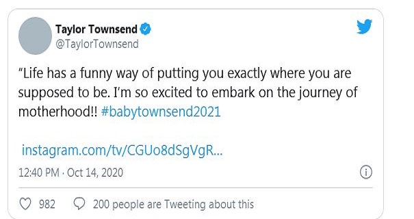 WTA Tennis player Taylor Townsend star pregnant