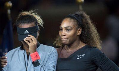Naomi Osaka consoled by Serena Williams