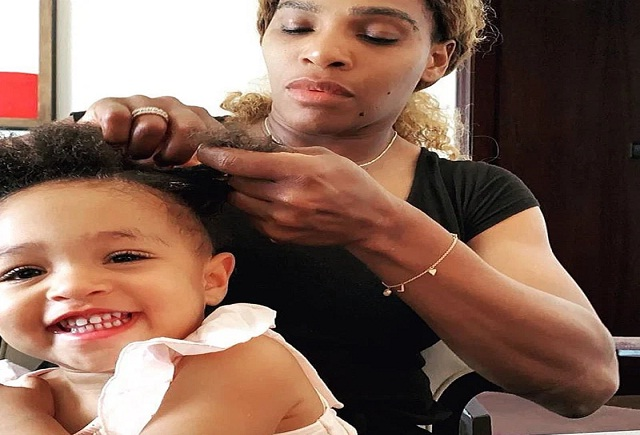 Serena Williams Gives Beauty Tutorial To Daughter Olympia