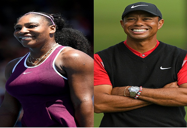 serena williams and tiger woods standing by sides