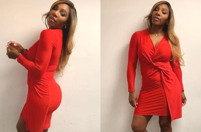 serena williams in red thick figure