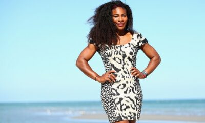 Serena Williams in black and white Gown