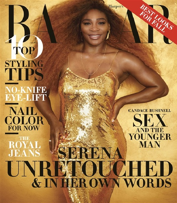 Serena Williams shines in an unretouched photo on the cover of the August issue of Harper's Bazaar