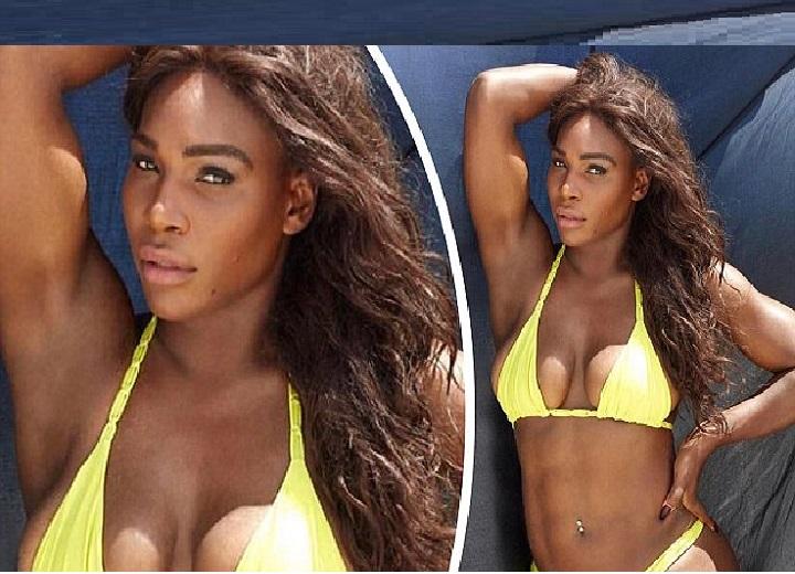 Serena Williams displays chiseled figure in neon bikini