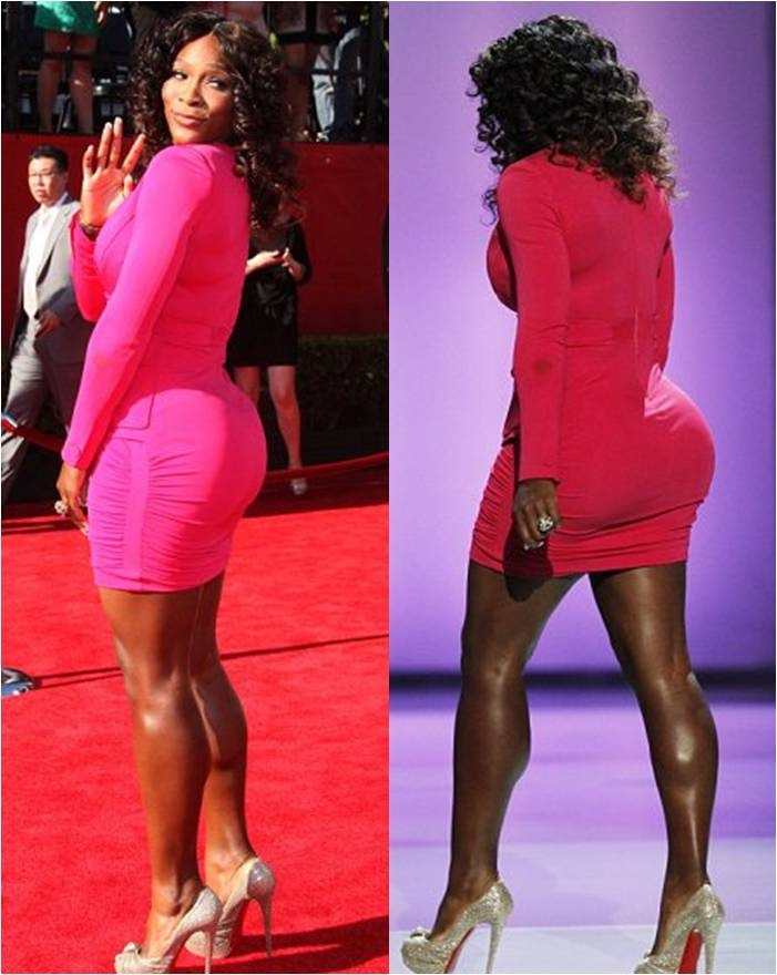 Serena Williams incredible on red dress