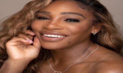 Serena Williams wearing Nestled Heart necklace and earrings from her latest collection