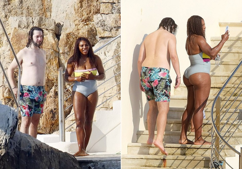 Serena Williams looks incredible in a colourful swimsuit as she jumps into the water and cosies up to husband Alexis Ohanian in the South Of France