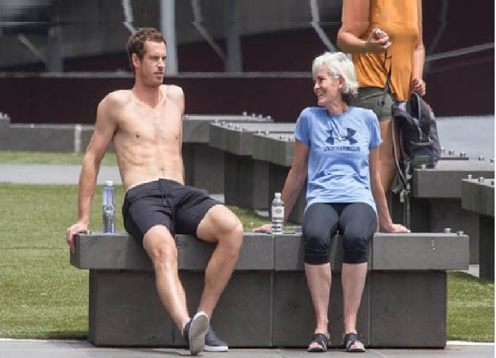 Andy Murray was pictured soaking up the sun with his mother Judy today