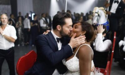 Serena Williams gets loving kisses from her new husband Alexis Ohanian at their wedding