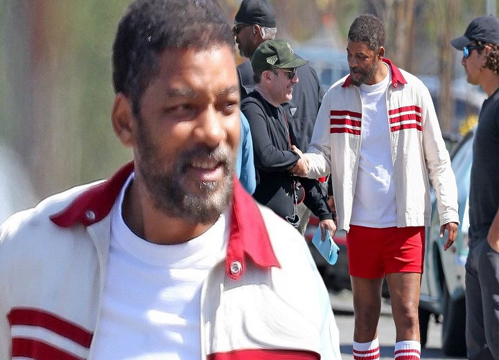 Will Smith rocks shorts and knee high socks on the set of his new movie trailer