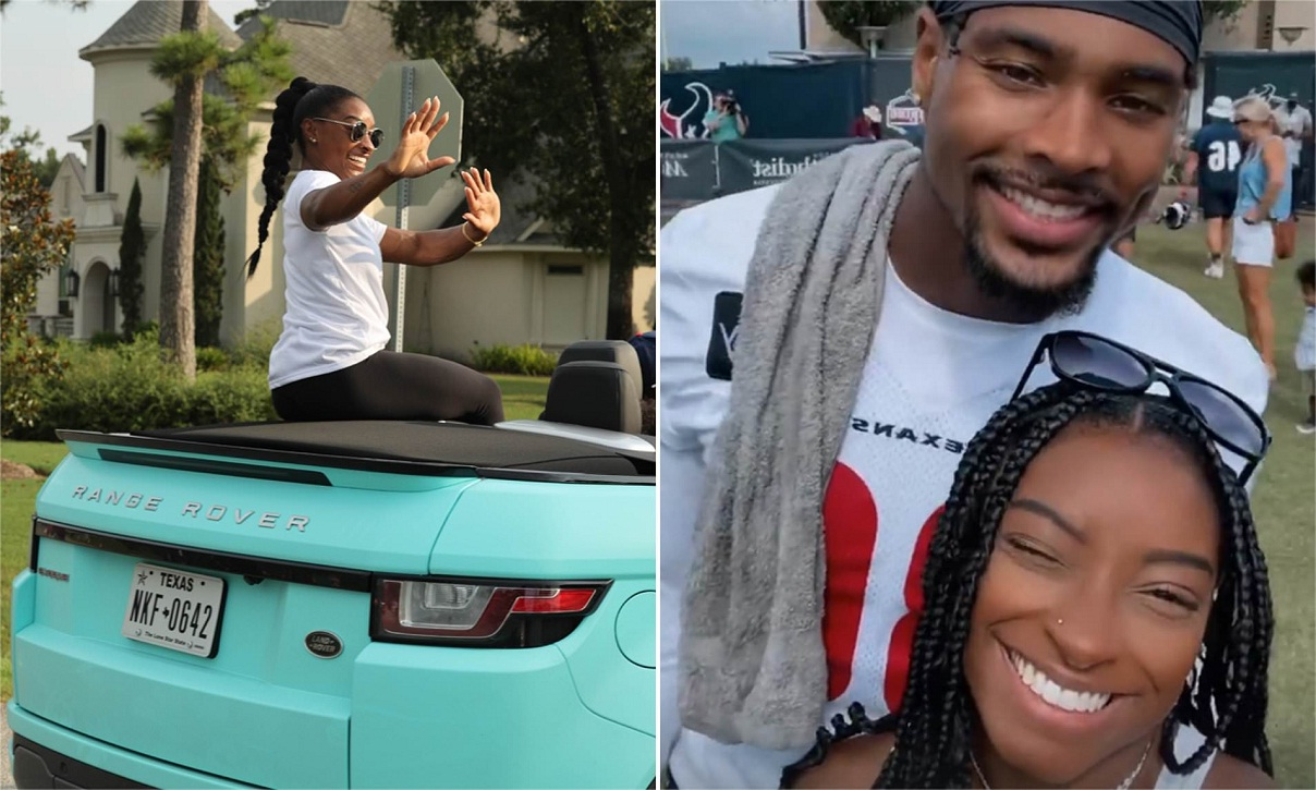 Simone Biles enjoys PARADE from her turquoise Range Rover convertible